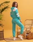 Εικόνα από  Γυναικεία σετ ρούχων παντελόνι & μπλουζάκι με δίχρωμη λεπτομέρεια Τιρκουάζ