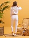 Εικόνα από  Γυναικεία σετ ρούχων παντελόνι & μπλουζάκι με λάστιχο Λευκό