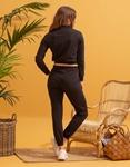 Εικόνα από  Γυναικεία σετ ρούχων παντελόνι & μπλουζάκι με λάστιχο Μαύρο