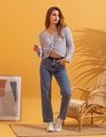 Εικόνα από Γυναικεία μπλούζα με δέσιμο Ασημί