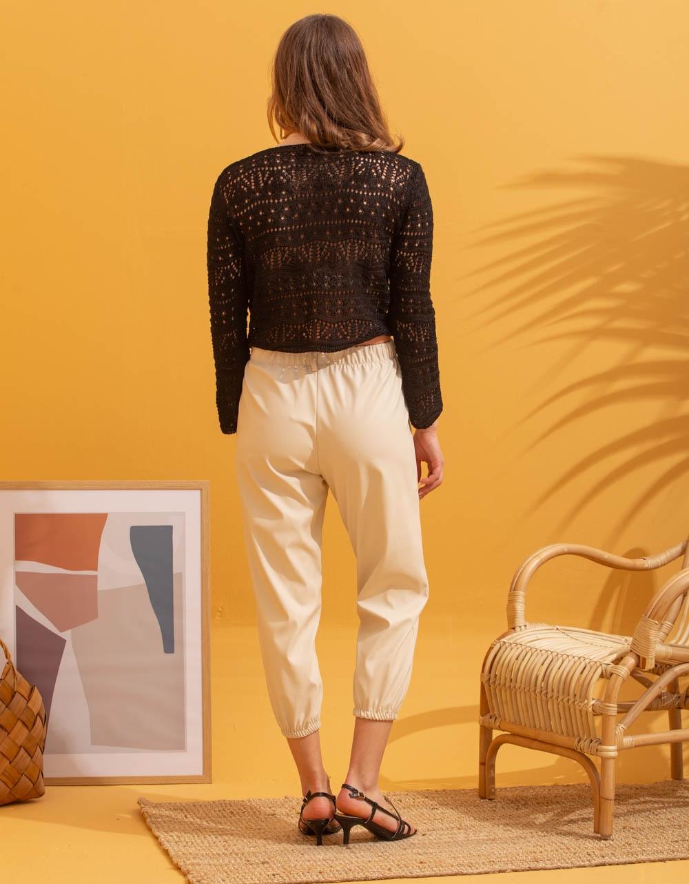 Εικόνα από Γυναικεία μπλούζα με δέσιμο Μαύρο