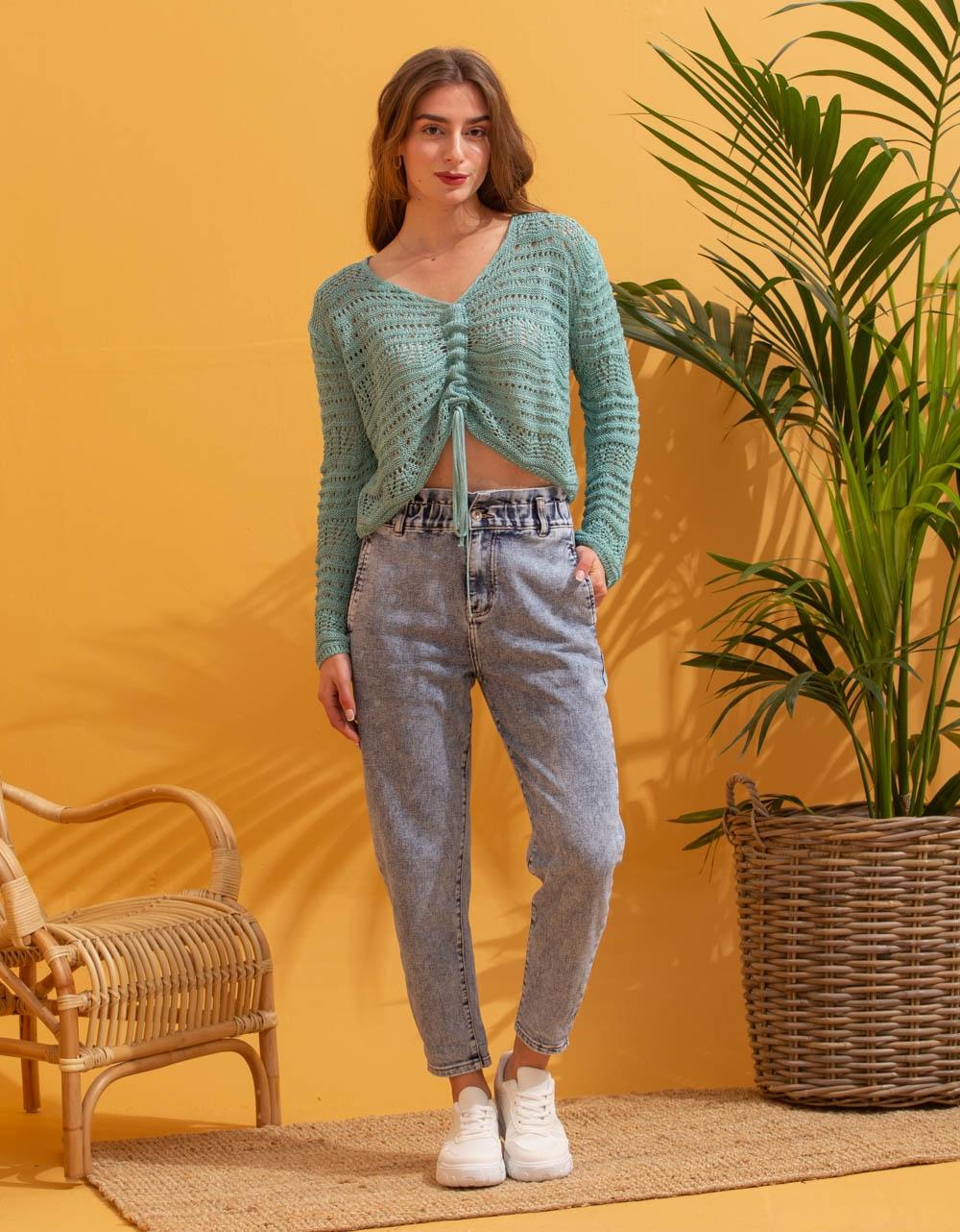 Εικόνα από Γυναικεία μπλούζα με δέσιμο Βεραμάν