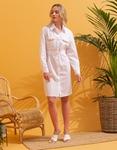 Εικόνα από Γυναικείο φόρεμα πουκάμισο με λεπτομέρεια λεοπάρ στα τσεπάκια Λευκό
