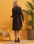 Εικόνα από Γυναικείο φόρεμα πουκάμισο με λεπτομέρεια λεοπάρ στα τσεπάκια Μαύρο