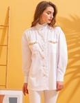 Εικόνα από Γυναικείο πουκάμισο oversized με λεπτομέρεια λεοπάρ στα τσεπάκια Λευκό