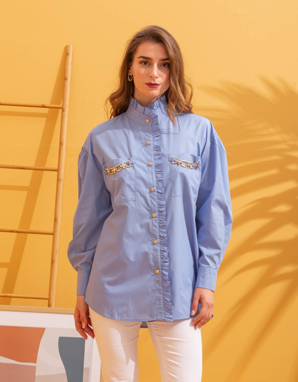 Εικόνα από Γυναικείο πουκάμισο oversized με λεπτομέρεια λεοπάρ στα τσεπάκια Μπλε