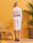 Εικόνα από Γυναικείο φόρεμα oversized πουκαμίσα με ζωνάκι Λευκό