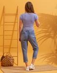 Εικόνα από Γυναικεία μπλούζα cropped μονόχρωμη Μπλε