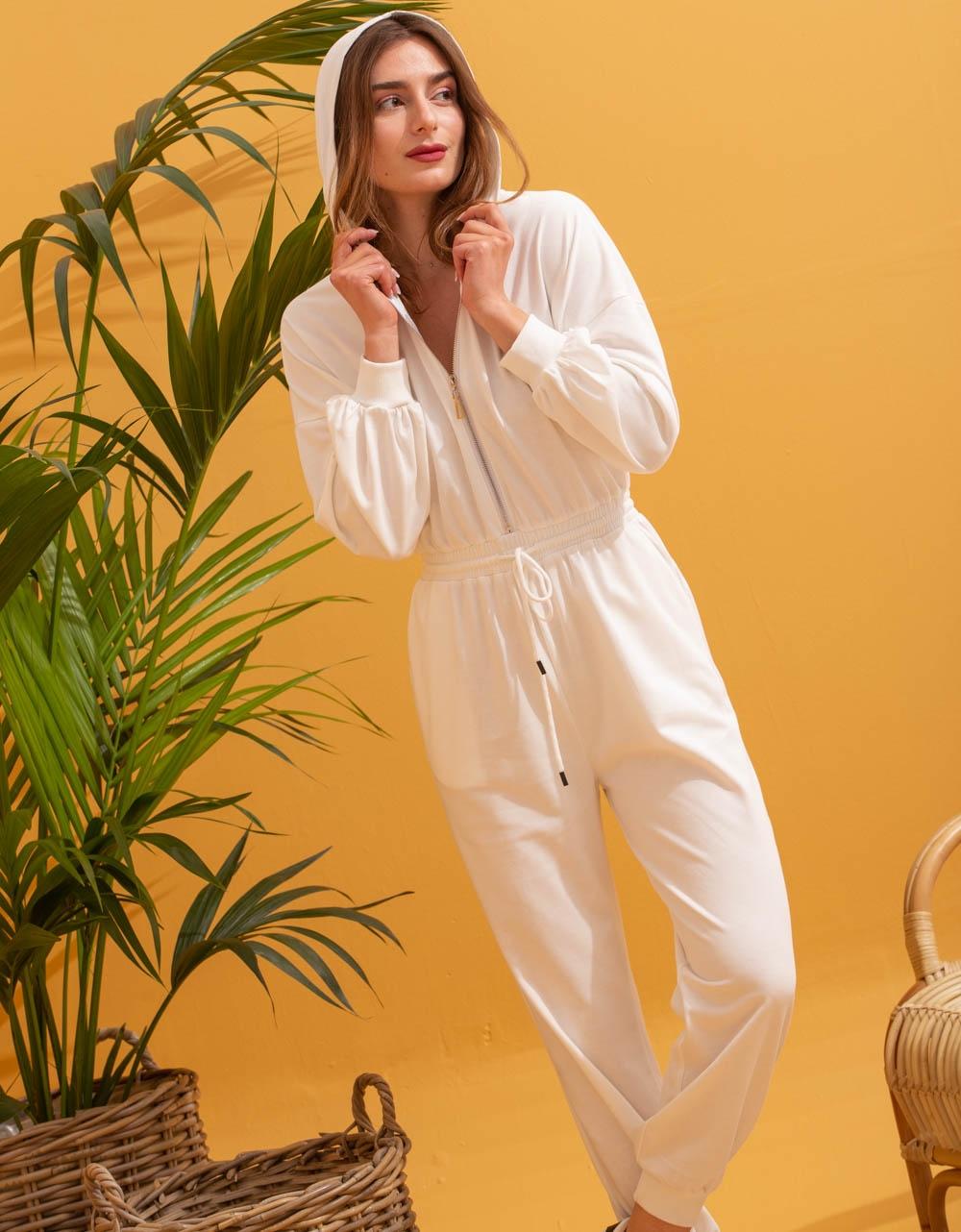 Εικόνα από Γυναικεία ολόσωμη φόρμα με φερμουάρ Λευκό