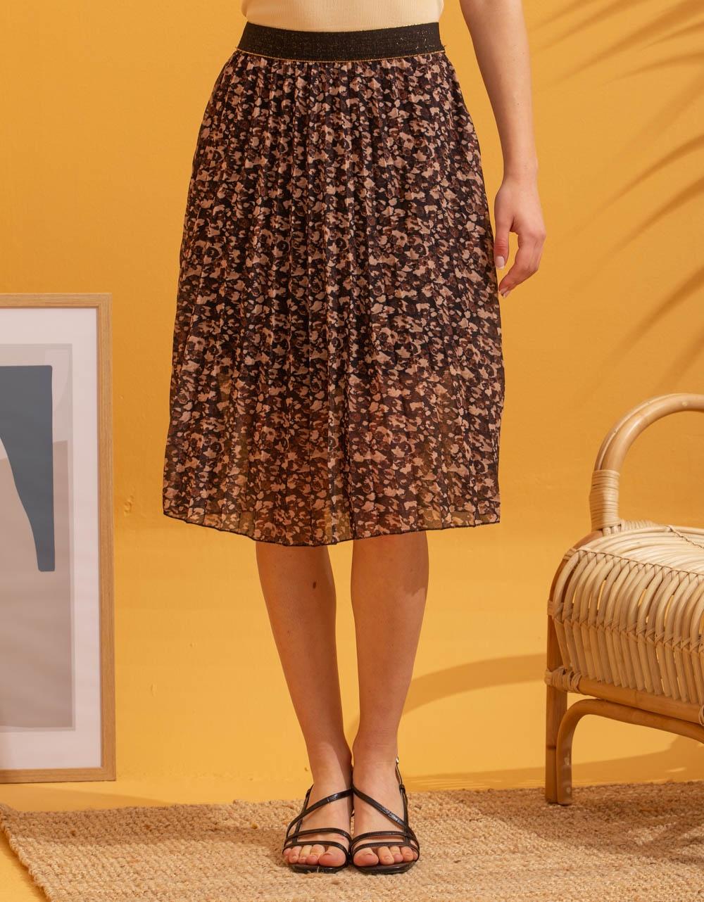 Εικόνα από Γυναικεία φούστα πλισέ με σχέδια Καφέ