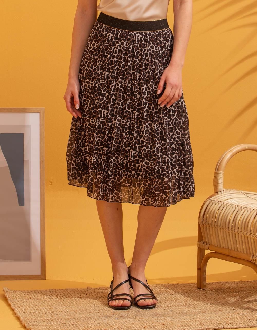 Εικόνα από Γυναικεία φούστα πλισέ με σχέδια Λεοπάρ