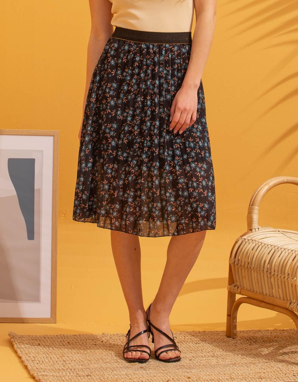 Εικόνα από Γυναικεία φούστα πλισέ με σχέδια Μαύρο