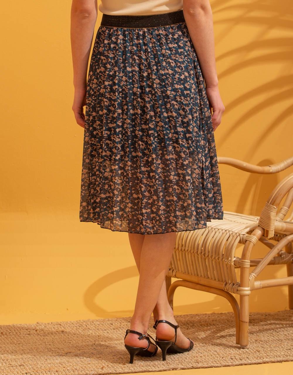 Εικόνα από Γυναικεία φούστα πλισέ με σχέδια Μπλε