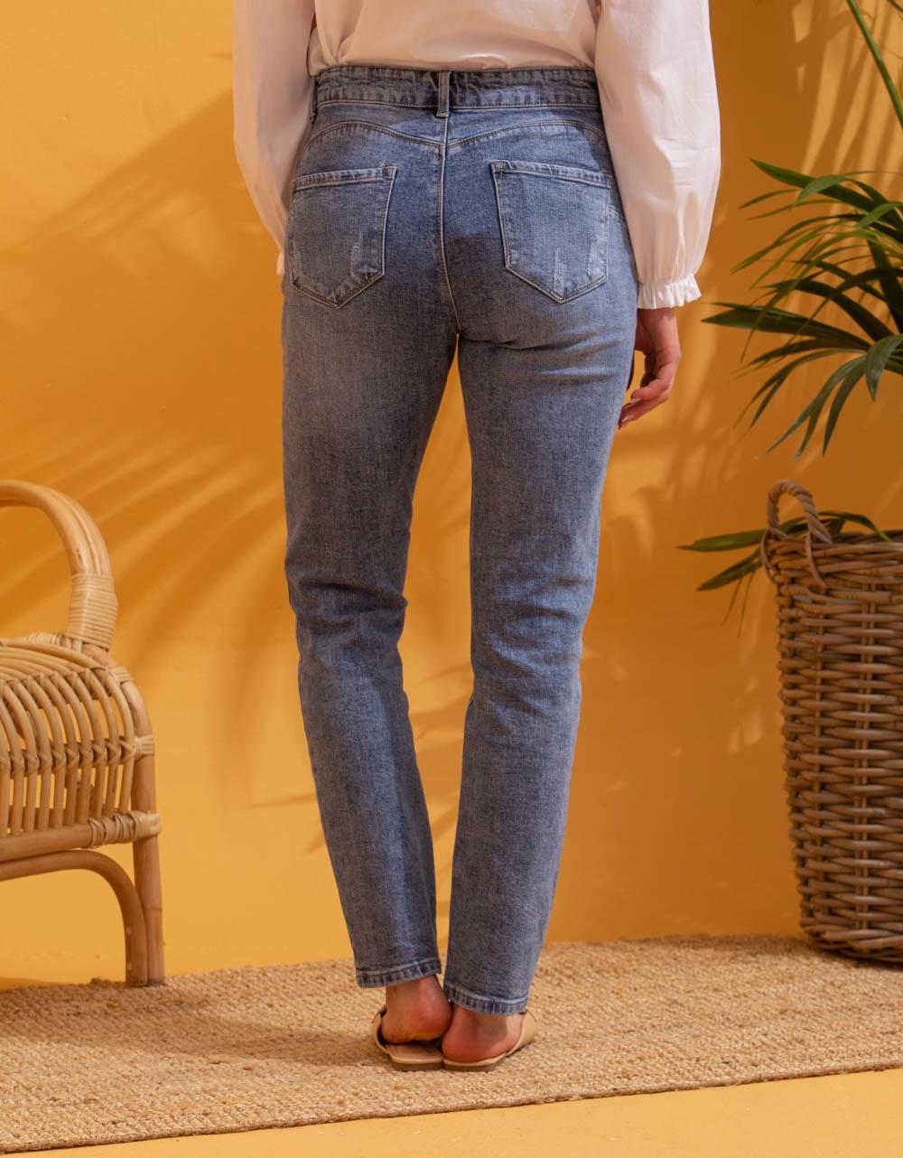 Εικόνα από Γυναικείo παντελόνι με φαρδιά μπατζάκια Τζιν