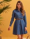 Εικόνα από Γυναικείο φόρεμα με ζωνάκι Μπλε