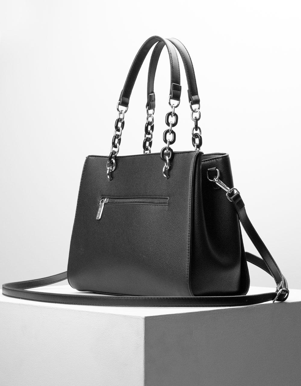 Εικόνα από Γυναικεία τσάντα ώμου με λουράκι χιαστί Μαύρο