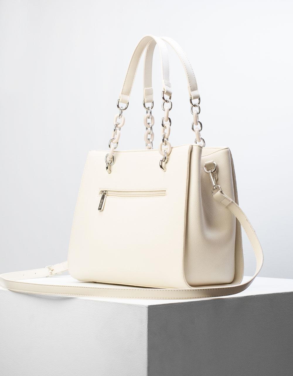 Εικόνα από Γυναικεία τσάντα ώμου με λουράκι χιαστί Μπεζ