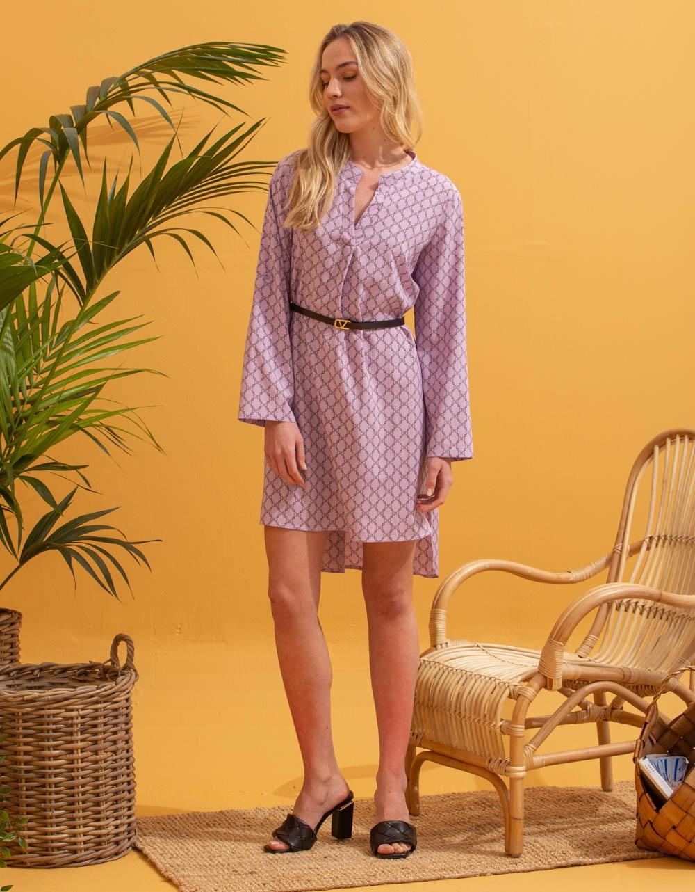 Εικόνα από Γυναικείο φόρεμα με ζωνάκι Μωβ