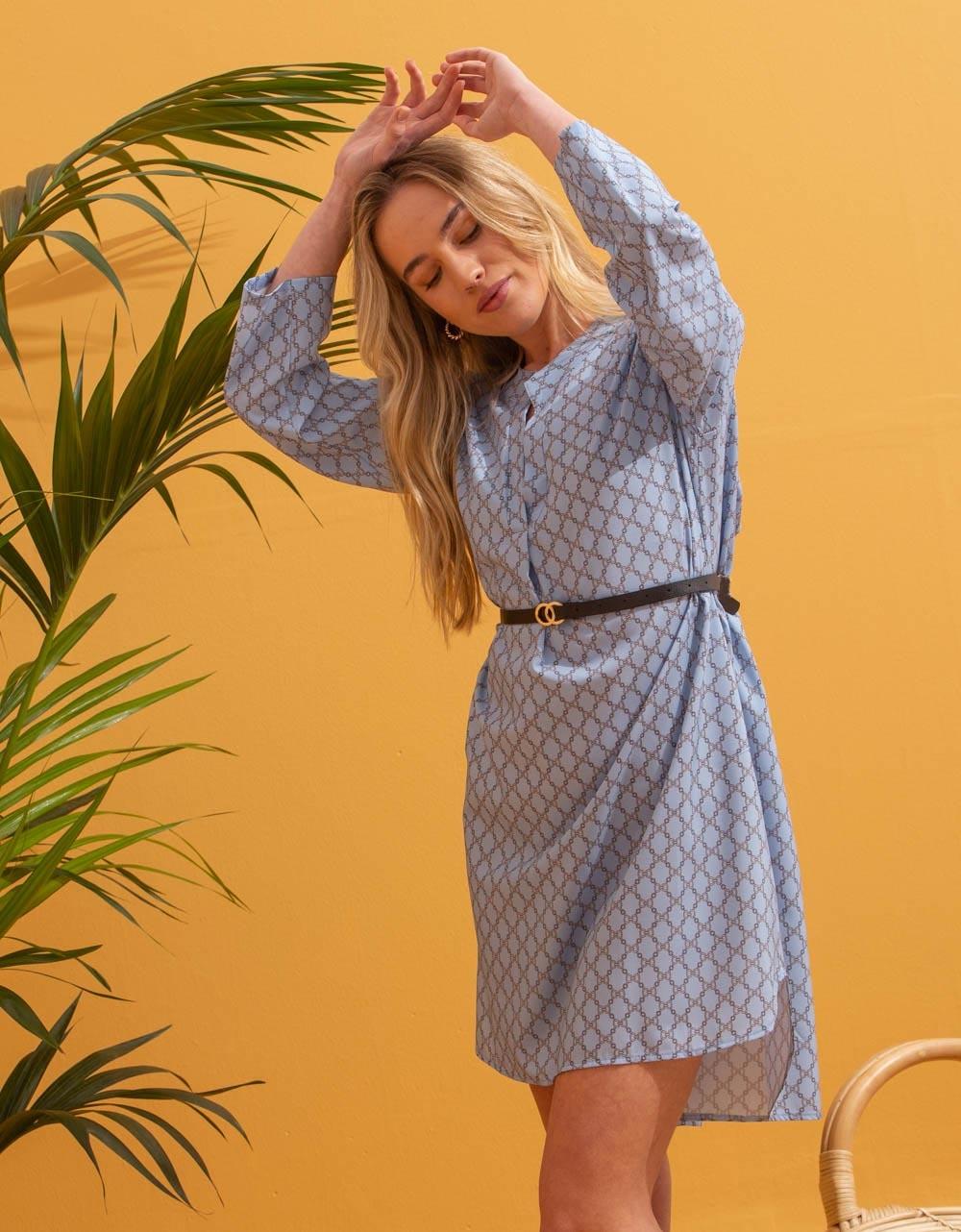 Εικόνα από Γυναικείο φόρεμα με ζωνάκι Σιέλ
