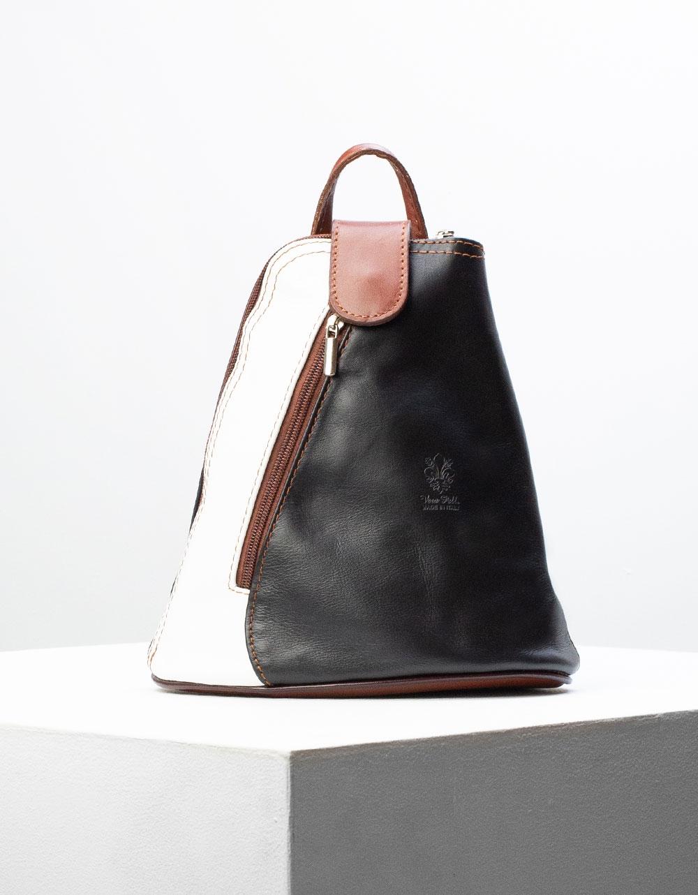Εικόνα από Γυναικείο σακίδιο πλάτης από γνήσιο δέρμα με δίχρωμο σχέδιο Μαύρο