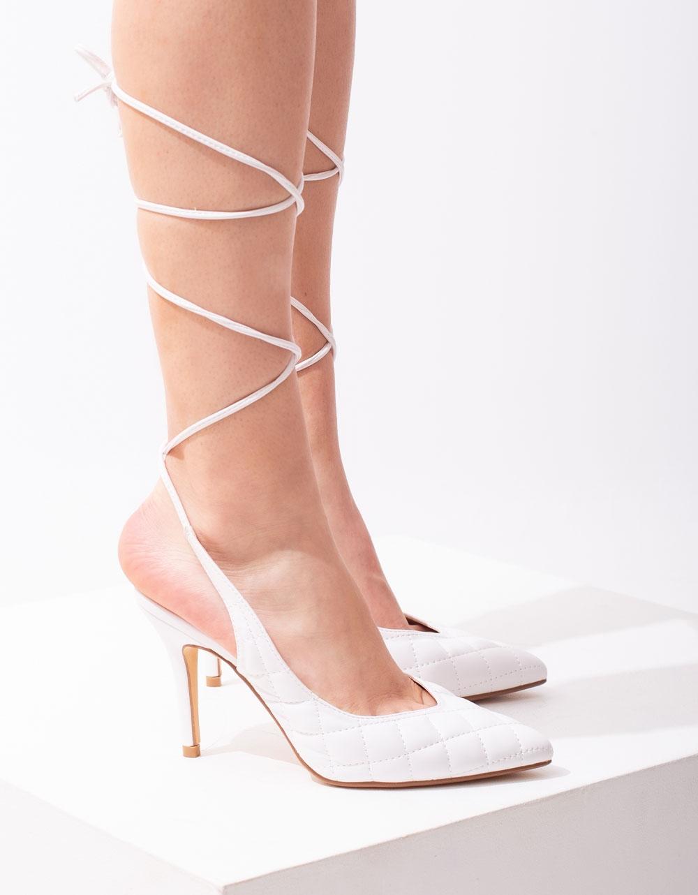 Εικόνα από Γυναικείες γόβες lace up καπιτονέ Λευκό
