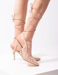 Εικόνα από Γυναικείες γόβες lace up καπιτονέ Nude
