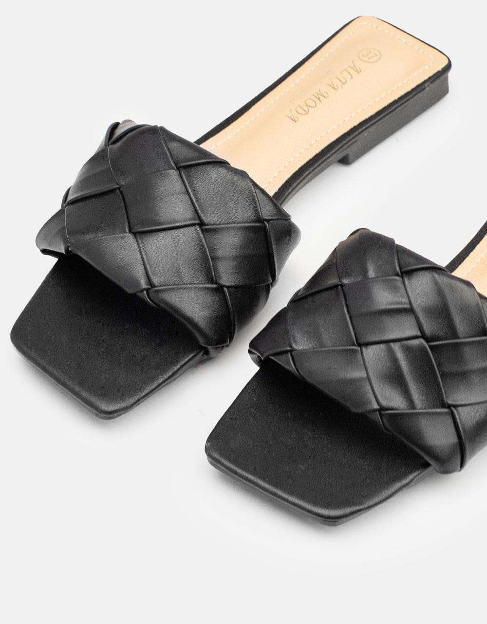 Εικόνα από Γυναικεία σανδάλια flat με πλεκτό σχέδιο στη φάσα Μαύρο