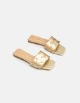 Εικόνα από Γυναικεία σανδάλια flat με πλεκτό σχέδιο στη φάσα Χρυσό