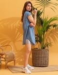Εικόνα από Γυναικείο φόρεμα σεμιζιέ με ανοίγματα Τζιν