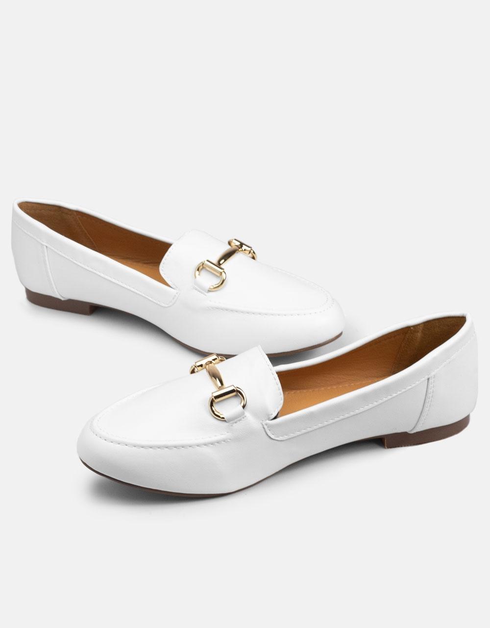 Εικόνα από Γυναικεία loafers σε απλή γραμμή Λευκό