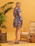 Εικόνα από Γυναικείο φόρεμα κόντο floral με βολάν Μπλε