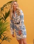 Εικόνα από Γυναικείο φόρεμα πουκάμισο με ζωνάκι Μπλε