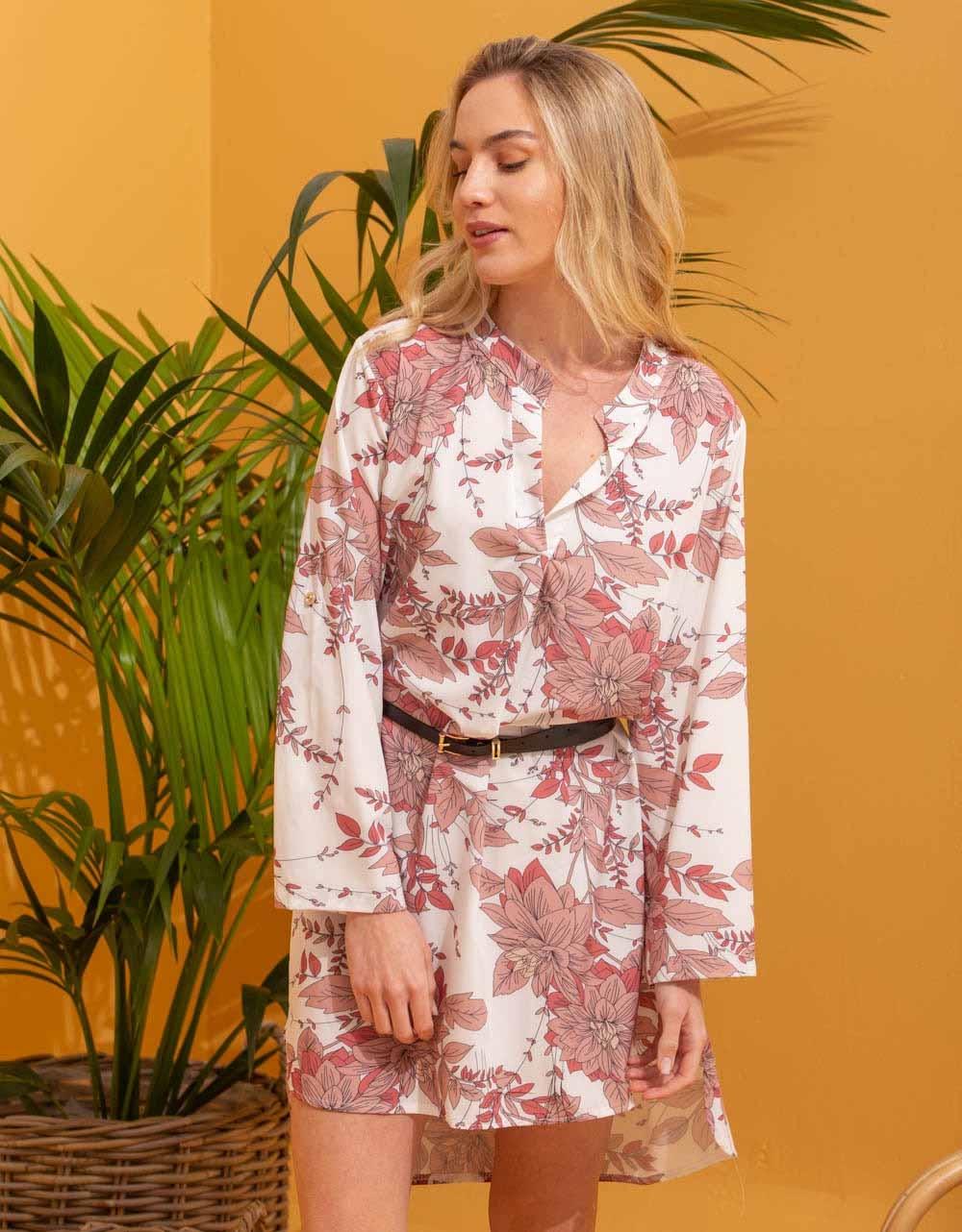 Εικόνα από Γυναικείο φόρεμα πουκάμισο με ζωνάκι Ροζ