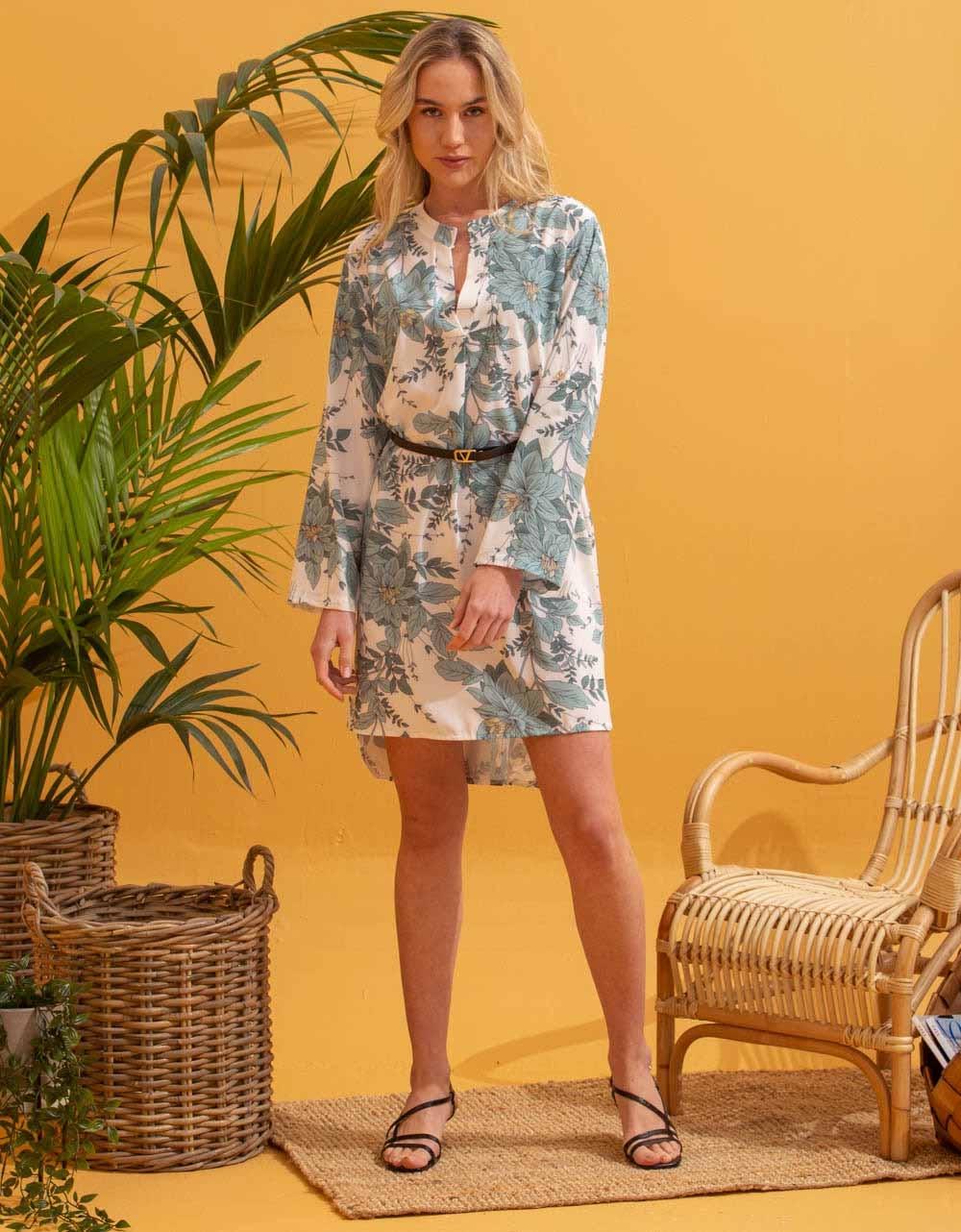 Εικόνα από Γυναικείο φόρεμα πουκάμισο με ζωνάκι Βεραμάν