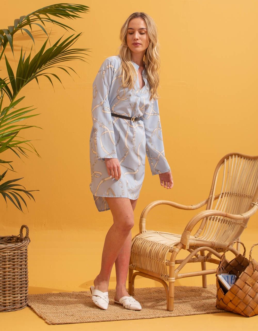 Εικόνα από Γυναικείο φόρεμα πουκάμισο με ζωνάκι Σιέλ