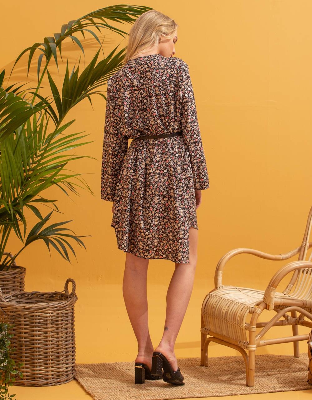 Εικόνα από Γυναικείο φόρεμα πουκάμισο με ζωνάκι Μαύρο