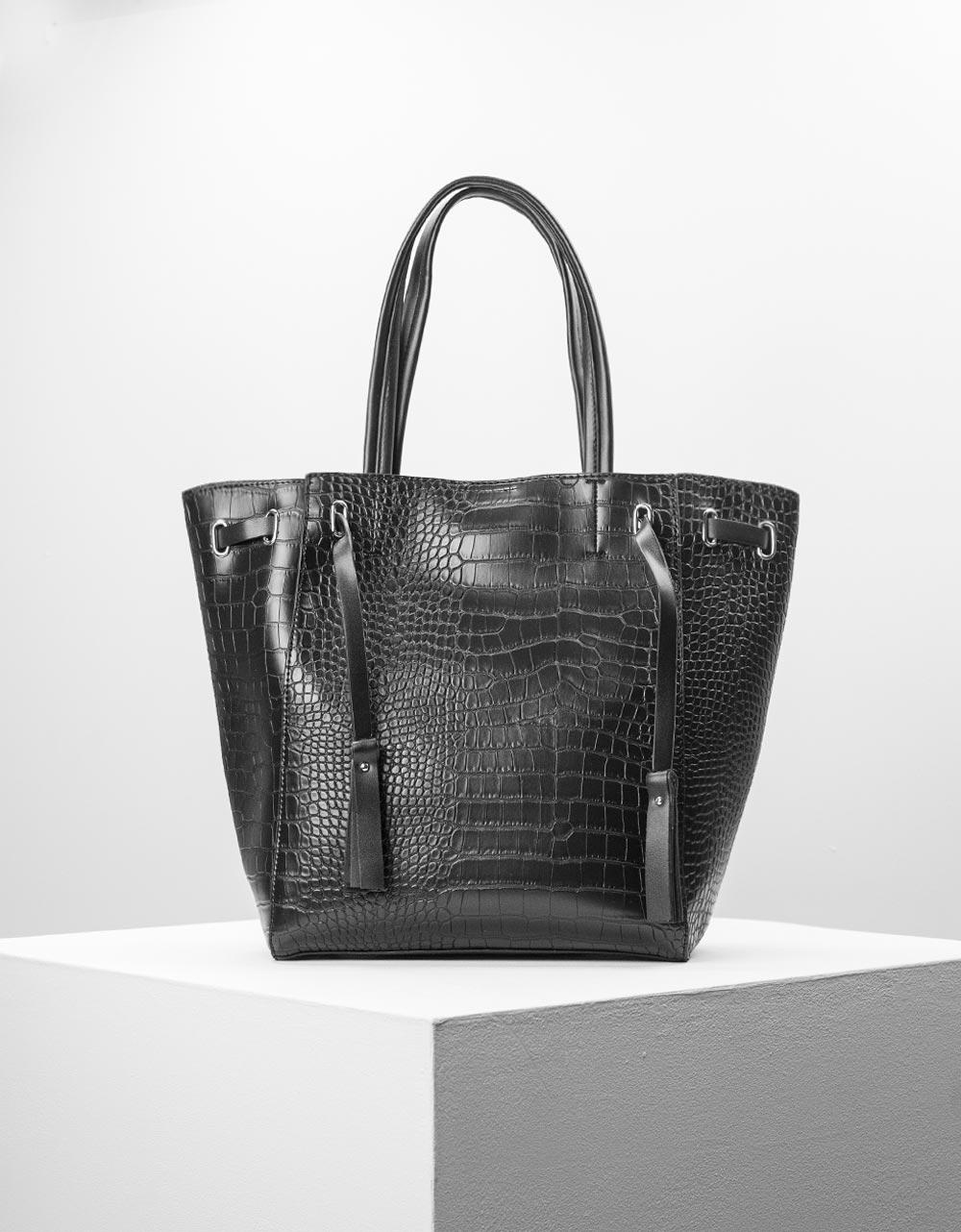 Εικόνα από Γυναικεία τσάντα ώμου κροκό με εσωτερικό τσαντάκι Μαύρο