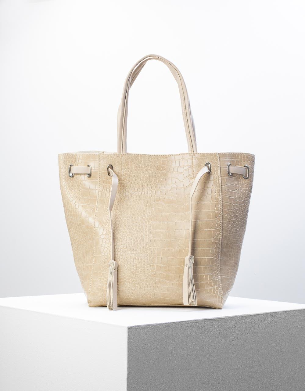 Εικόνα από Γυναικεία τσάντα ώμου κροκό με εσωτερικό τσαντάκι Μπεζ
