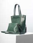 Εικόνα από Γυναικεία τσάντα ώμου κροκό με εσωτερικό τσαντάκι Πράσινο