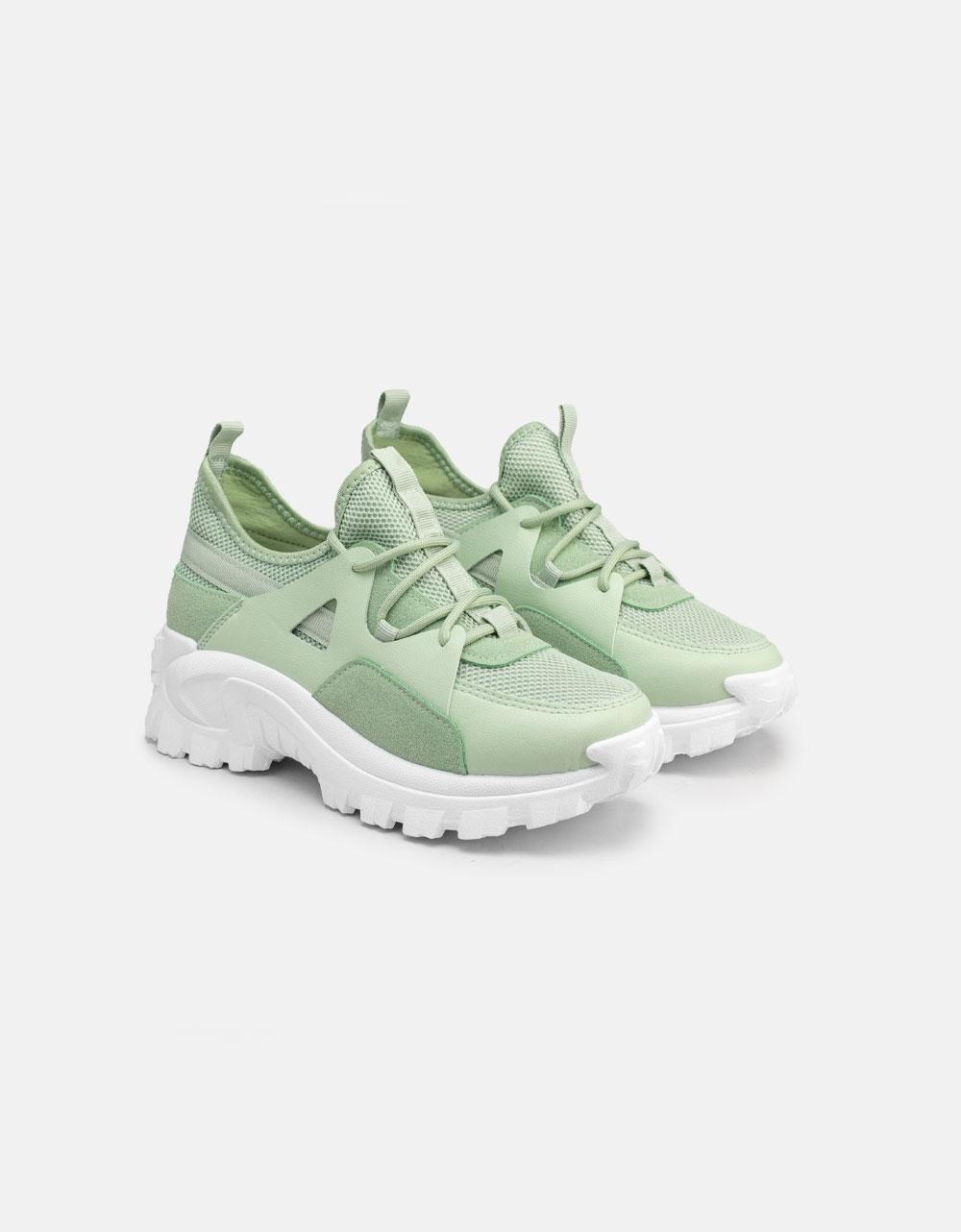 Εικόνα από Γυναικεία Chunky sneakers με ποικιλία υλικών Πράσινο