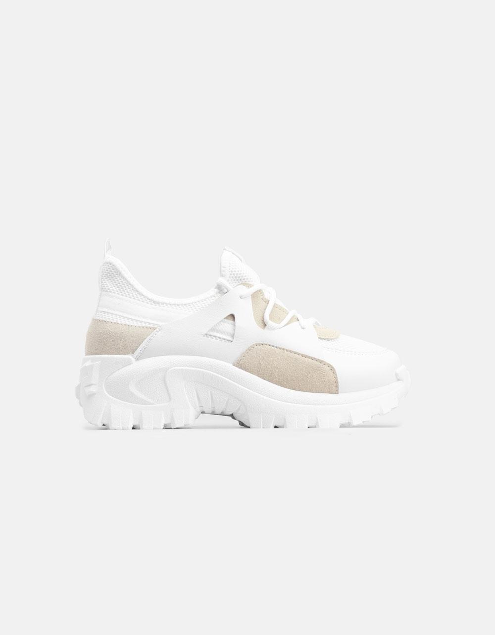 Εικόνα από Γυναικεία Chunky sneakers με ποικιλία υλικών Λευκό/Γκρι
