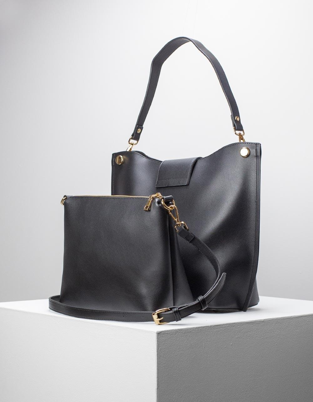 Εικόνα από Γυναικεία τσάντα ώμου εσωτερικό τσαντάκι Μαύρο