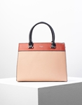 Εικόνα από Γυναικεία τσάντα χειρός με δίχρωμη λεπτομέρεια Ροζ