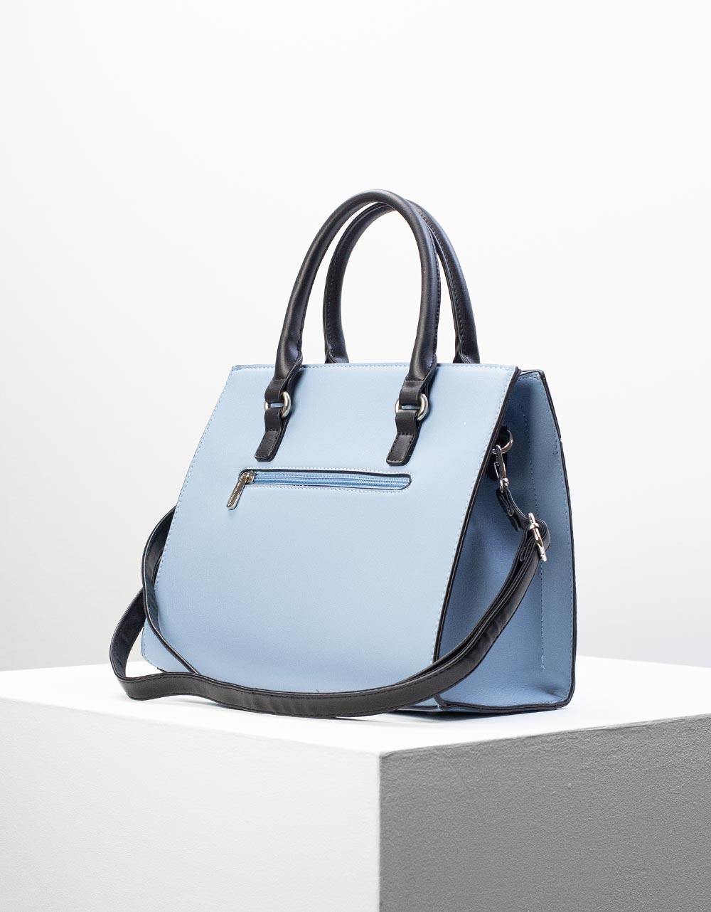 Εικόνα από Γυναικεία τσάντα χειρός με δίχρωμη λεπτομέρεια Σιέλ