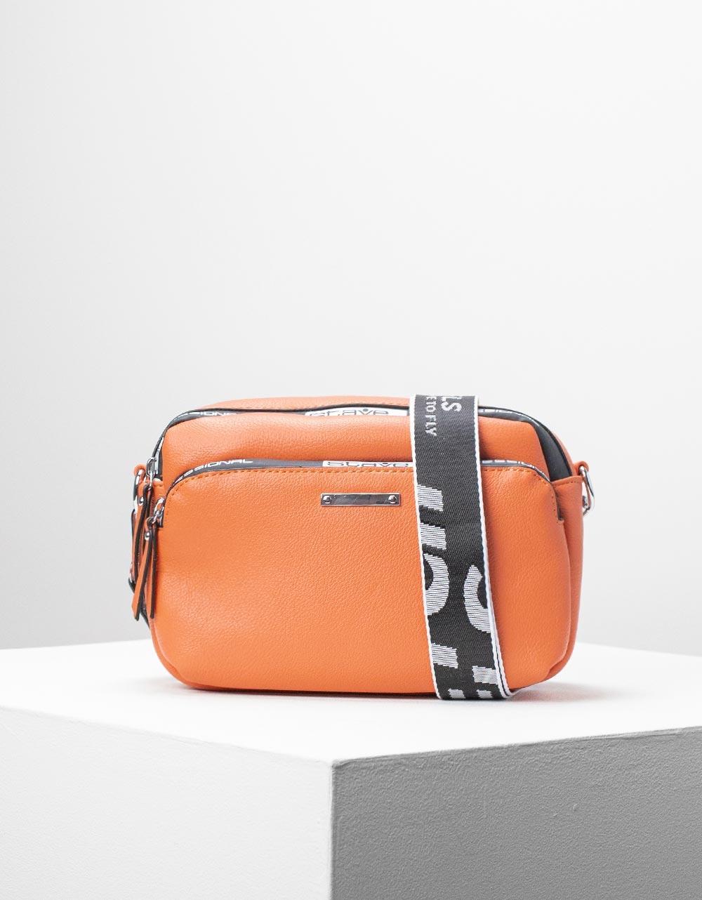 Εικόνα από Γυναικεία τσάντα ώμου & χιαστί με εξωτερική θήκη Πορτοκαλί