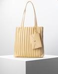 Εικόνα από Γυναικεία τσάντα ώμου πλισέ με εξωτερικό πορτοφόλι Μπεζ