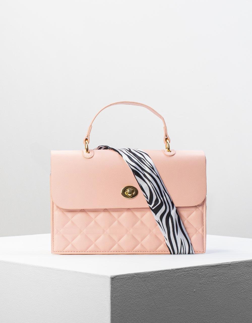 Εικόνα από Γυναικεία τσάντα ώμου & χιαστί σε καπιτονέ σχέδιο Ροζ