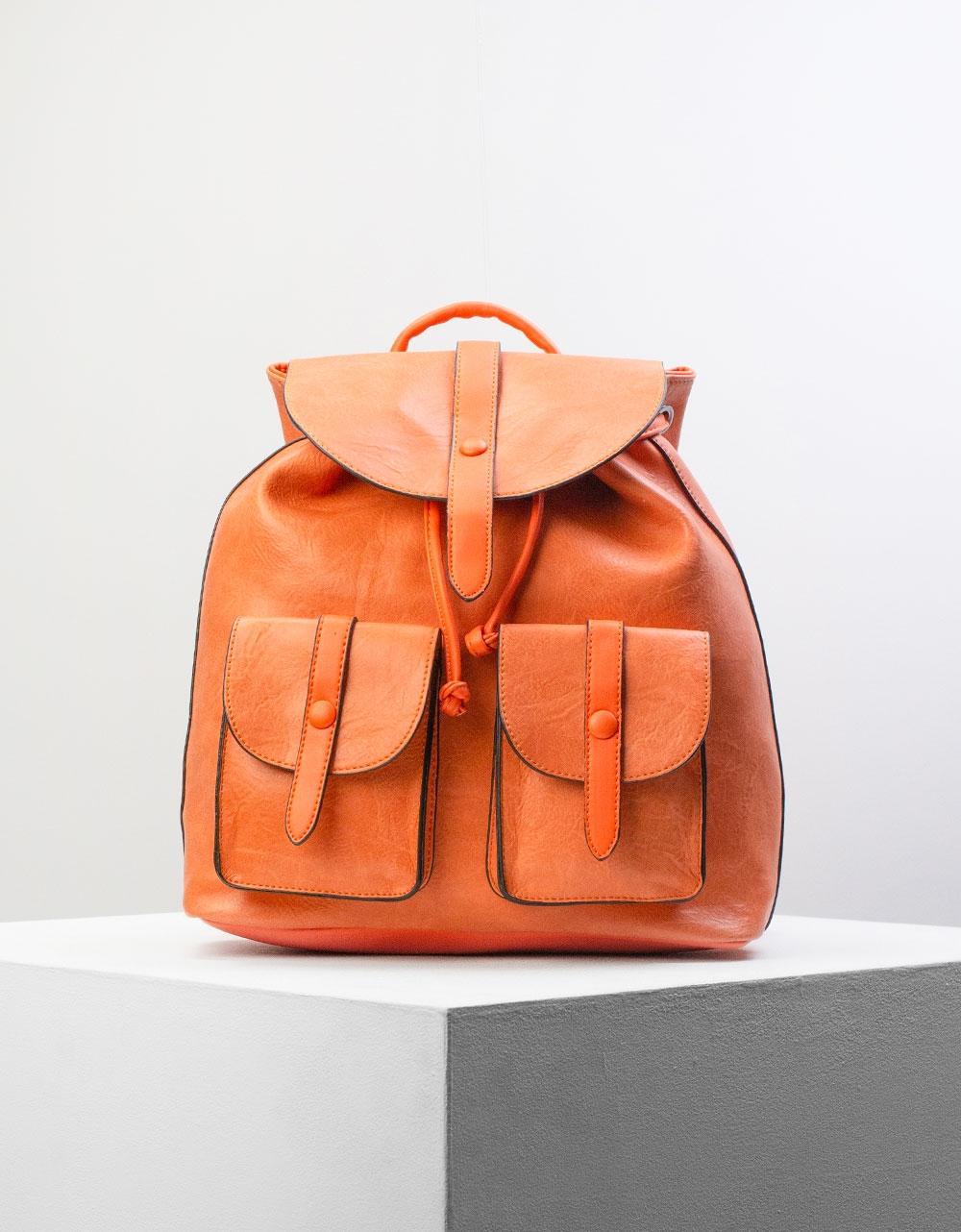 Εικόνα από Γυναικεία σακίδια πλάτης πουγκί με εξωτερικές θήκες Πορτοκαλί