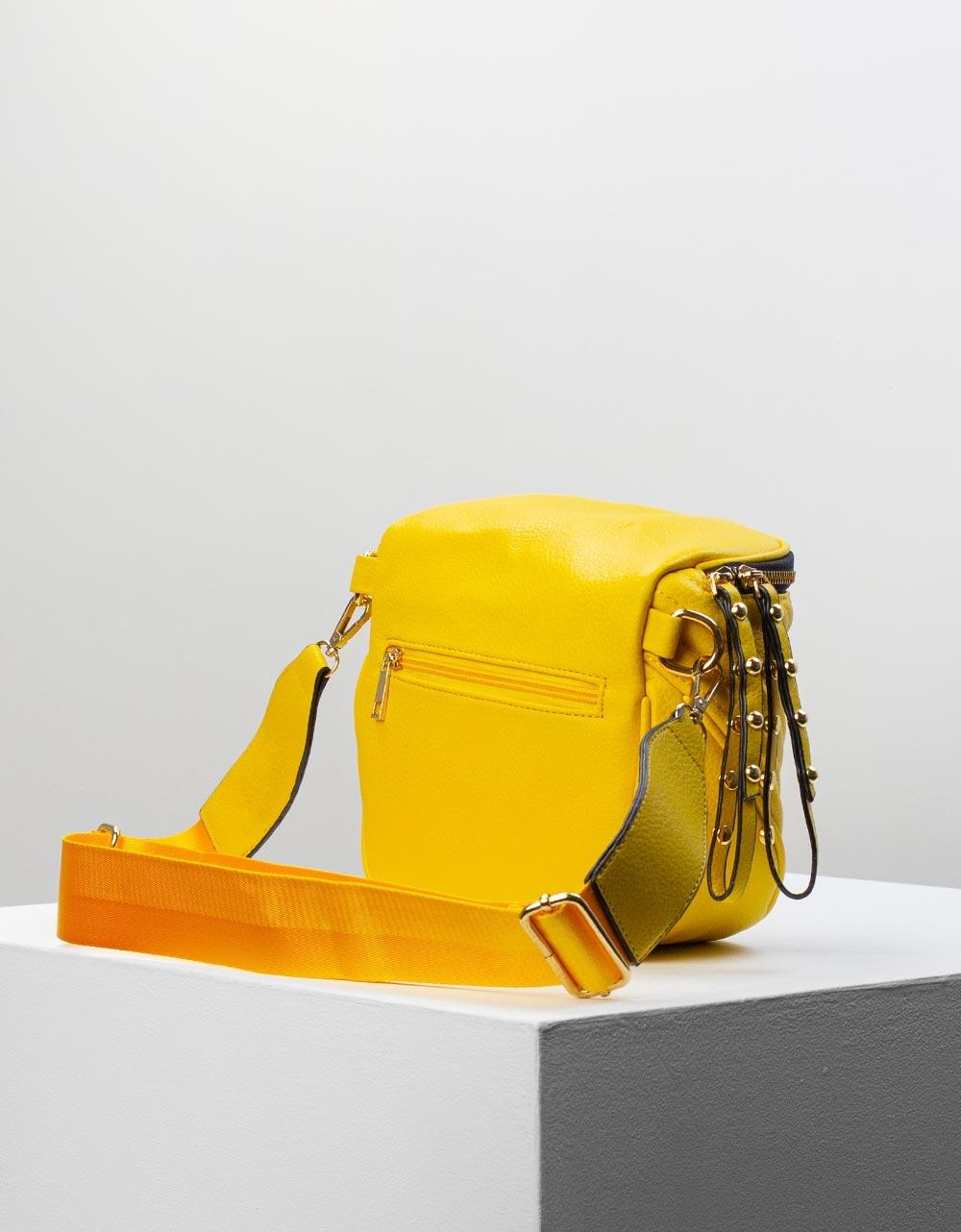 Εικόνα από Γυναικεία τσάντα ώμου & χιαστί με ανάγλυφο σχέδιο Κίτρινο