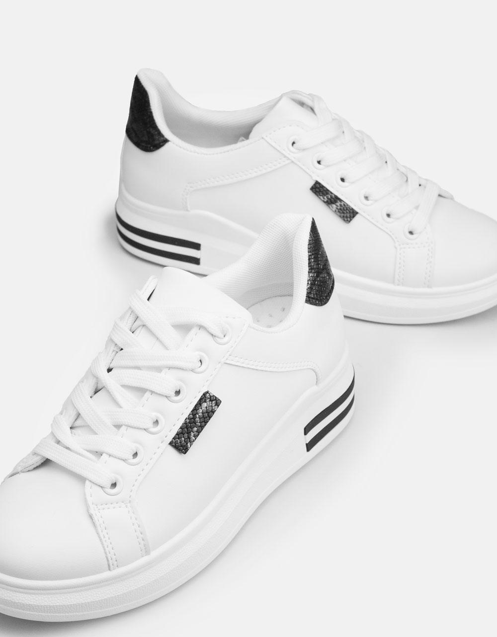 Εικόνα από Γυναικεία sneakers με διχρωμία στο πίσω μέρος Λευκό/Μαύρο